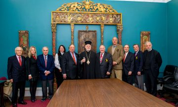 Members of the Board of Trustees of the Ecumenical Patriarch Bartholomew Foundation gathered for the inaugural meeting. From left to right: Christopher Stratakis, Esq., Aphrodite Skeadas, George E. Safiol (Vice Chair), Maria Allwin, John A. Catsimatidis, His Eminence Archbishop Elpidophoros of America (Patriarchal Representative and Exarch of the Ecumenical Patriarchate), Dr. Anthony J. Limberakis (Chair), Dean Poll, Peter Kakoyiannis, Esq. (Secretary), the Hon. B. Theodore Bozonelis, Father Alexander Karloutsos (Spiritual Advisor). (not pictured but on the Board is Michael G. Psaros (Treasurer), Thomas S. Cappas, Esq. and Thomas E. Constance, Esq). (Photo by J. Mindala)