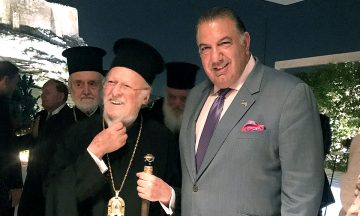 His All-Holiness Ecumenical Patriarch Bartholomew and Archon John S. Koudounis, Chair of Foundation Investment Committee